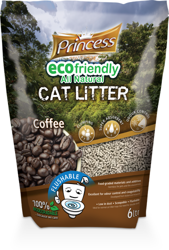 Princess Eco Biodegradable Flushable cat litter, Coffee 6L