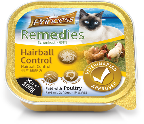 Princess Remedies Pate with Poultry, Hairball Control, 100g