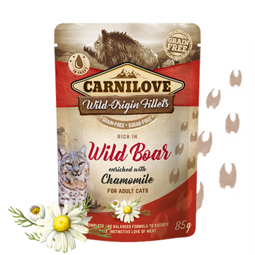 Carnilove cat pouches Rich in Wild Boar enriched with Chamomile