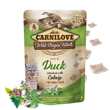 Carnilove cat pouches Rich in Duck enriched with Catnip WILD-ORIGIN FILLETS IN GRAVY