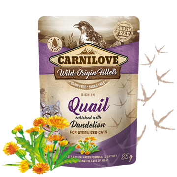 Carnilove cat pouches Rich in Quail enriched with Dandelion