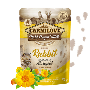 Carnilove cat pouches Rich in Rabbit enriched with Marigold ( For Kittens)