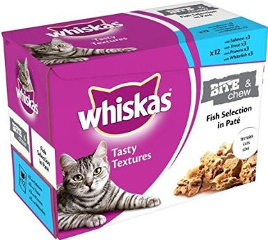 Whiskas Bite & Chew Tasty Textures Fish selection in Pate (12 Pack)