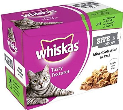 Whiskas Bite & Chew Tasty Textures Mixed selection in Pate (12 Pack)