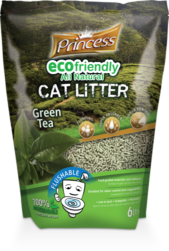 Princess Eco Biodegradable Flushable cat litter, Green Tea 6L