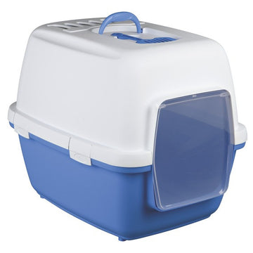 Xavi Cat Litter Tray, 45 x 48 x 58cm, blue / white