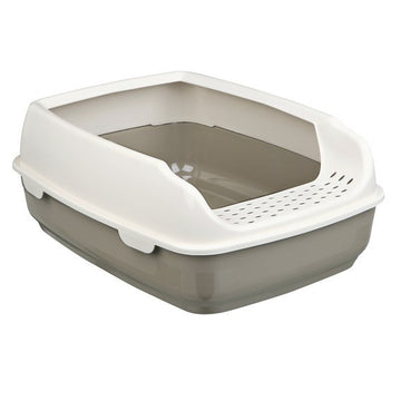 Delio cat litter tray with rim, 35 x 20 x 48cm, taupe / cream