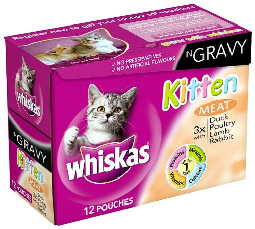 Whiskas - 12 pack, Pouches Kitten in Gravy, 100g each