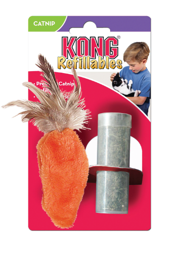 KONG - Cat Refillable Catnip Feather Carrot