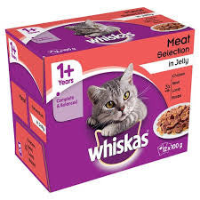 Whiskas Meat Variety Pack - 12 POUCHES X 100GR