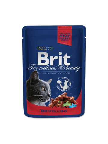 Brit Premium Cat Pouches with Beef Stew & Peas, 100g