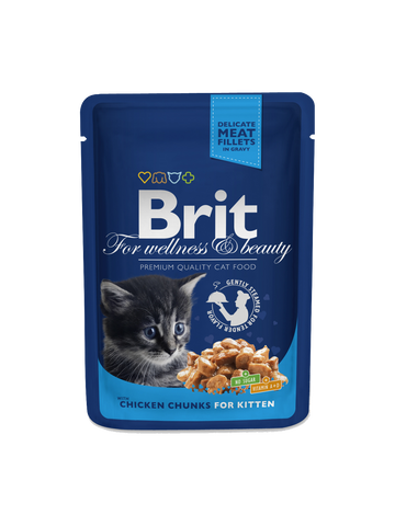 Brit Premium Cat Pouches Chicken Chunks for Kitten, 100G