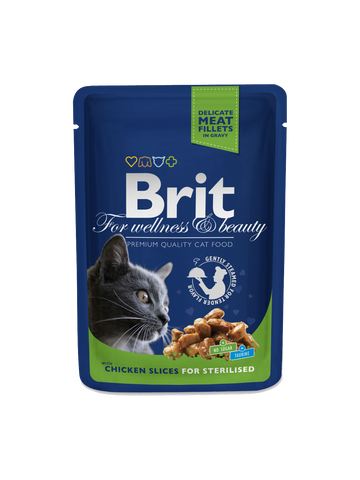 Brit Premium Cat Pouches Chicken Slices for Sterilised, 100g