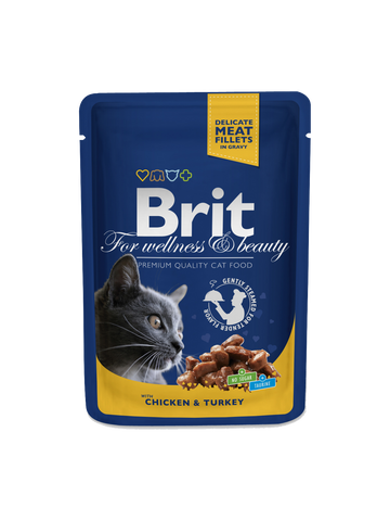 Brit Premium Cat Pouches with Chicken & Turkey,100g