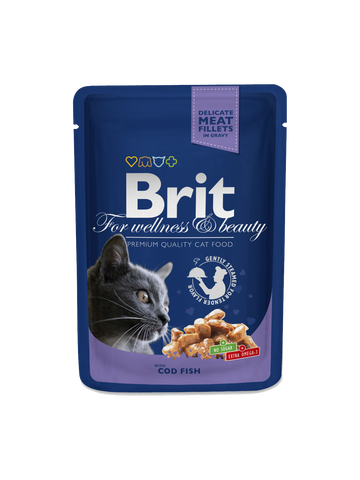 Brit Premium Cat Pouches with Cod Fish, 100g