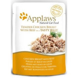 Applaws Pouches Tender Chicken Breast with Beef in tasty Jelly