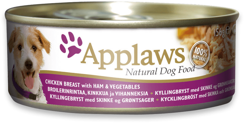 Applaws dog tin Chicken Breast with Ham and vegetables, 156g