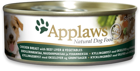 Applaws dog tin Chicken Breast with Beef Liver and vegetables, 156g