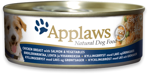 Applaws dog tin Chicken Breast with Salmon and vegetables, 156g