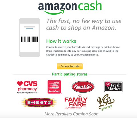 Amazon Cash Service Participating Retailers