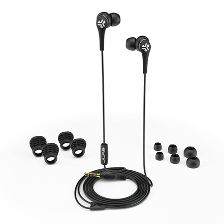Close-up of Black Core Custom Fit Earbuds with All Ear Tip Sizes