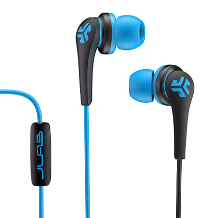 Close-up of Blue and Black Core Custom Fit Earbuds with Microphone