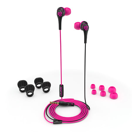 Close-up of Pink and Black Core Custom Fit Earbuds with All Ear Tip Sizes