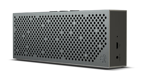 Front and Side View of Gunmetal Crasher Slim Bluetooth Speaker