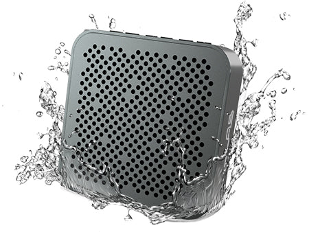 Front View of Gunmetal Crasher Mini Bluetooth Speaker with Water Splashes