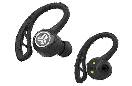 Primer plano frontal y posterior de negro Epic Air Elite True Wireless Auriculares con gotas de agua
