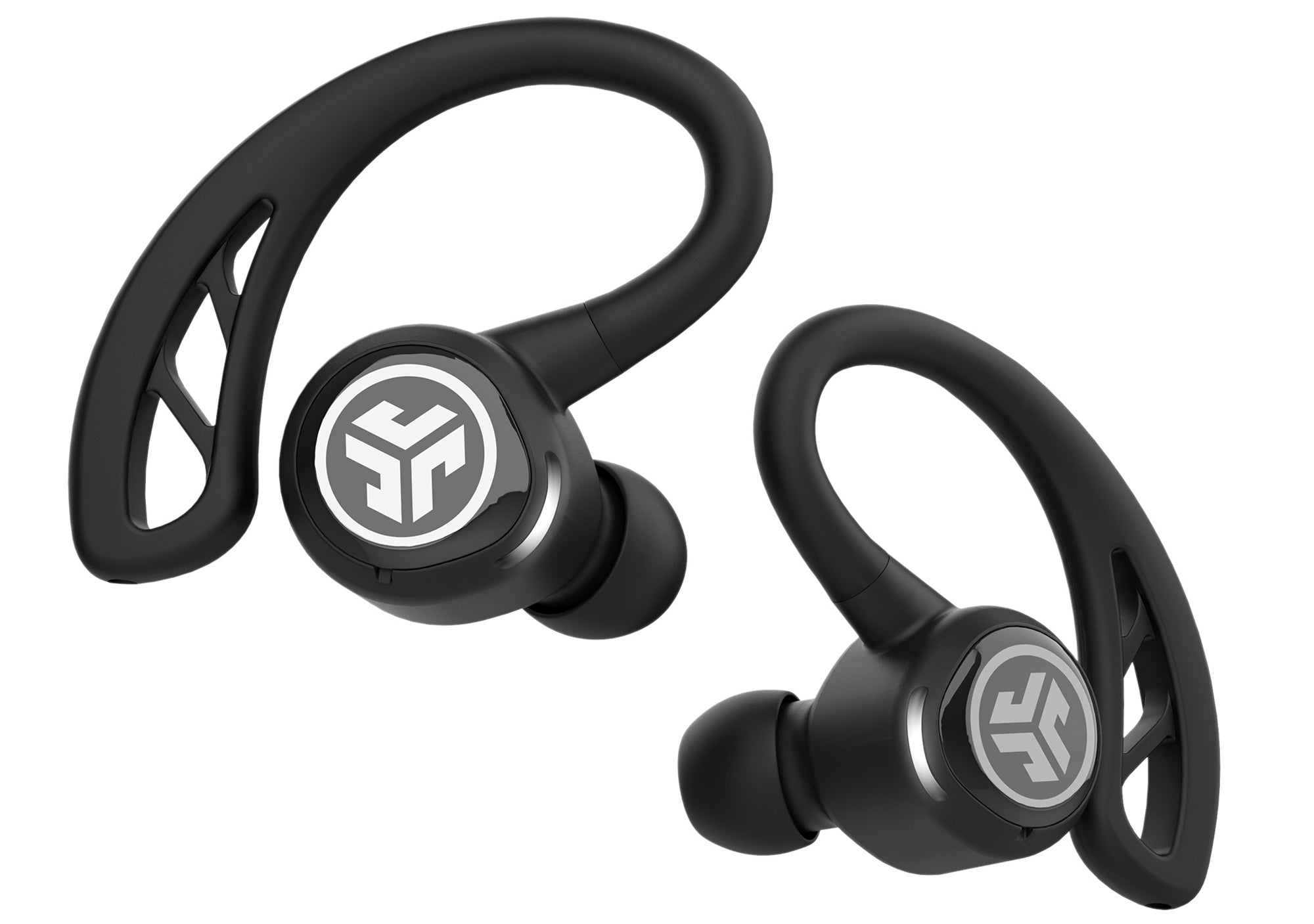 Close-up of Black Epic Air Elite True Wireless Earbuds