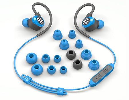 Flat Lay of Blue and Grey Epic2 Bluetooth Wireless Earbud Viser alle ørepipestørrelser