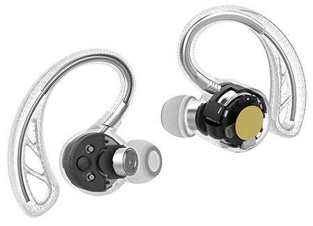 Vista interna do hardware de Epic Air Elite True Wireless Earbuds