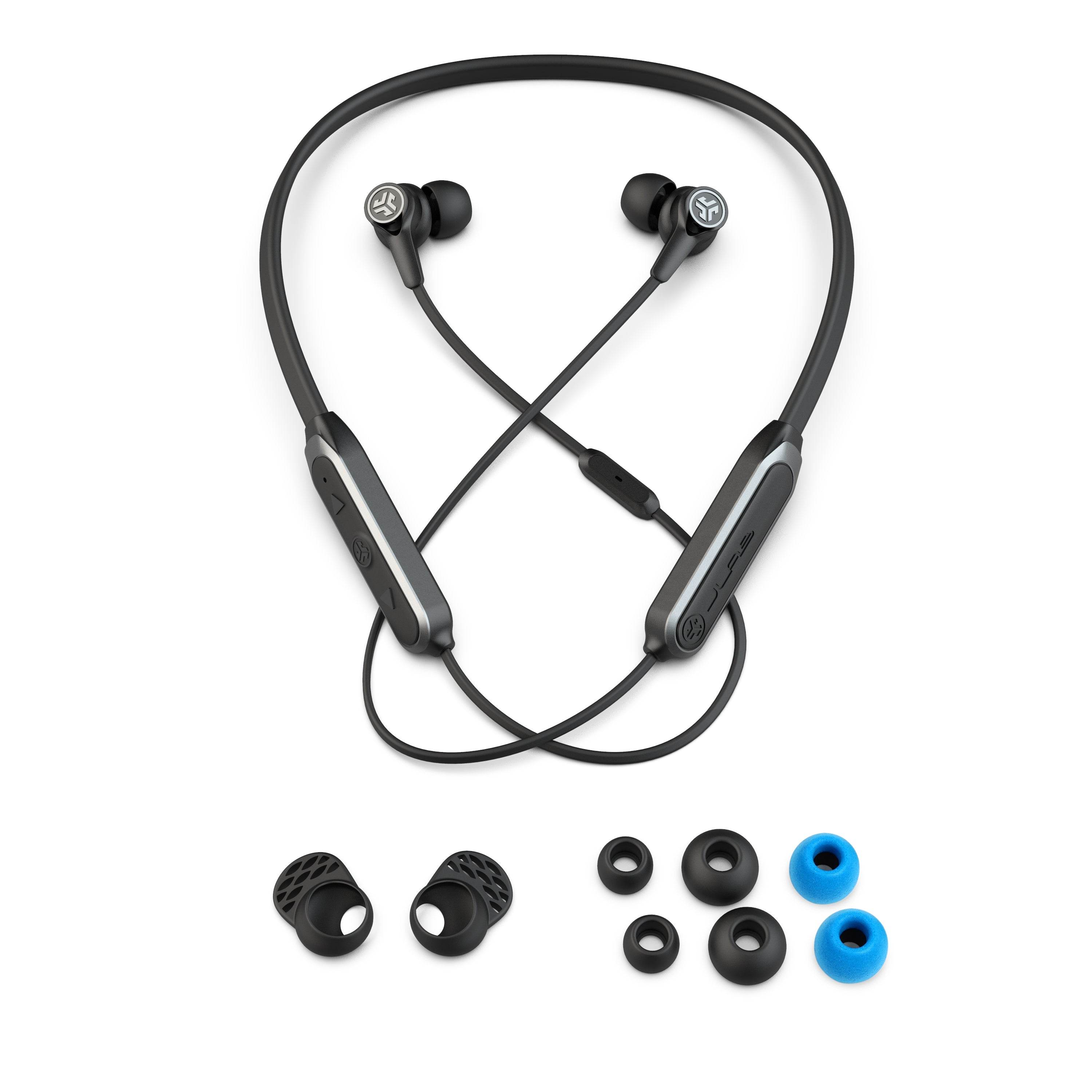 Black Epic Executive Wireless Earbud Accessories with Neckband, Cush Fins, Ear Tips, AUX Adaptor, and Traveling Case