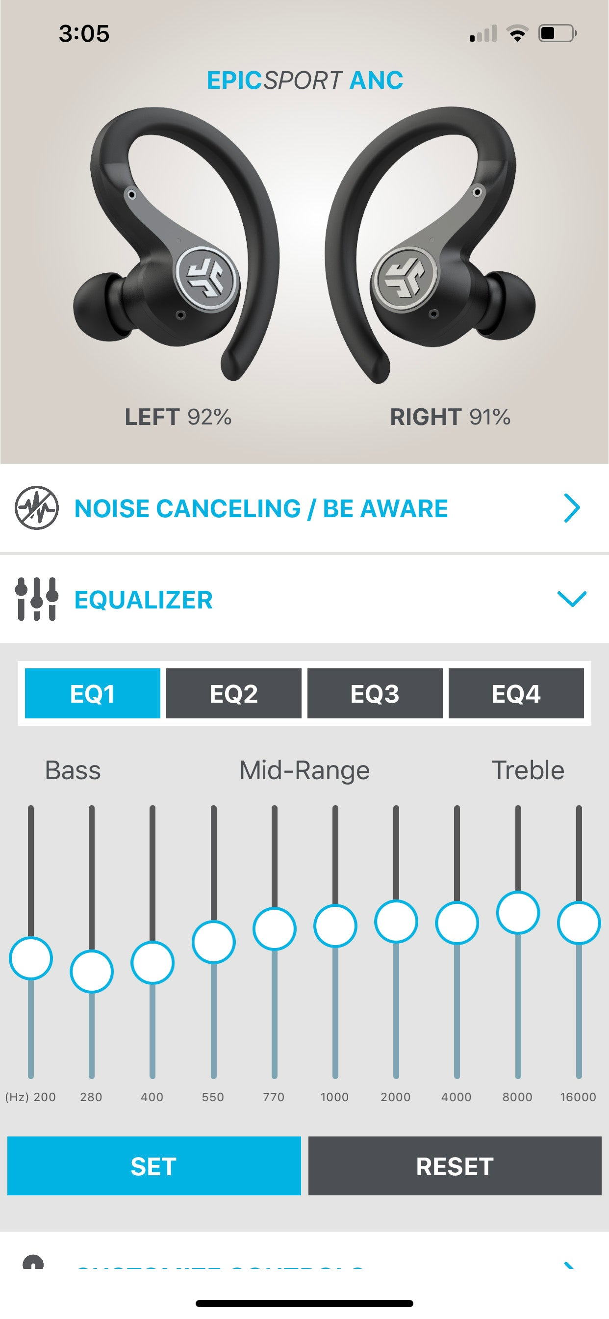 Screenshot of app showing equalizer setting toggling