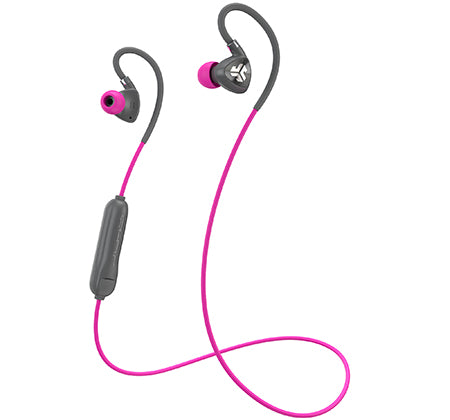 Gris y rosa Fit Sport 2.0 Wireless Fitness Earbuds con cable y micrófono