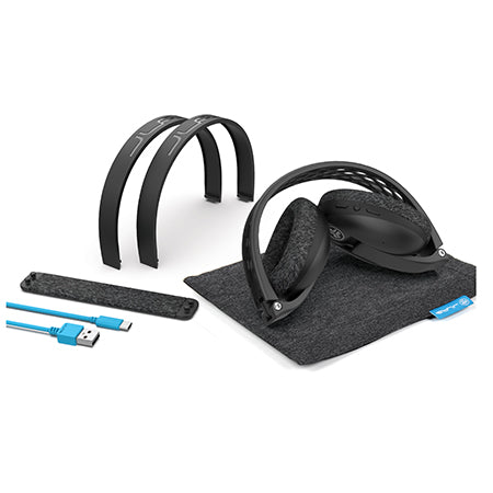 Accesorios de negro Flex Sport Wireless Bluetooth Headphones Incluyendo diademas de tensión ajustable, bolsa de transporte y cable USB