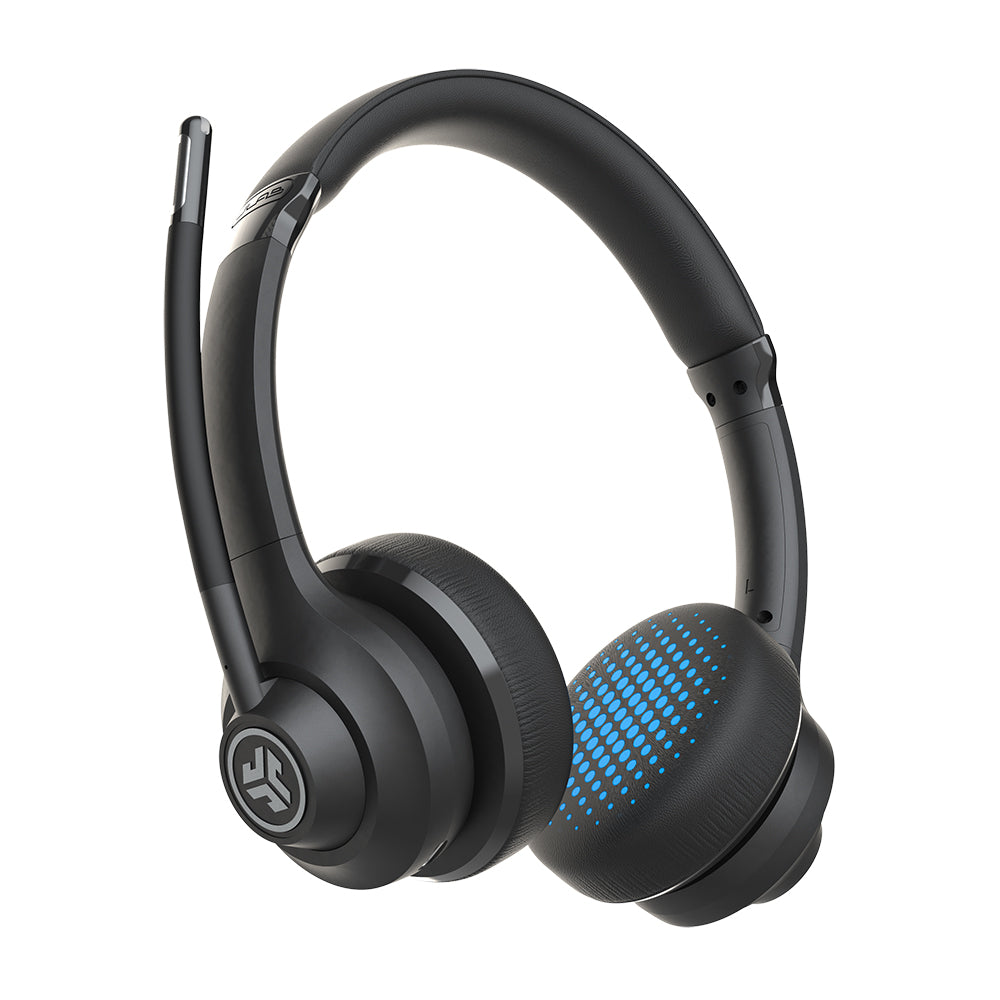 GO Work Wireless On-Ear Headset with boom microphone rotated upright