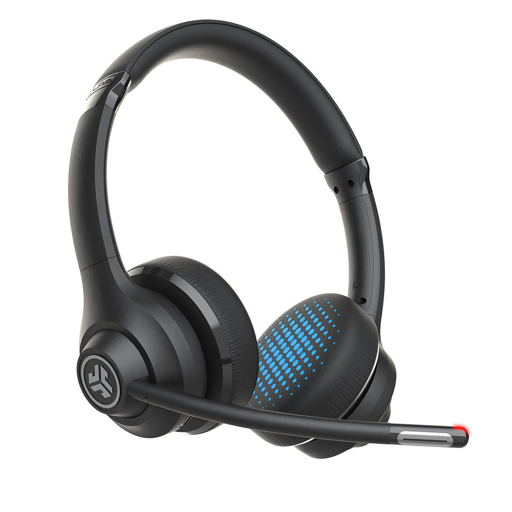 GO Work Wireless On-Ear Headset with red light at end of boom microphone
