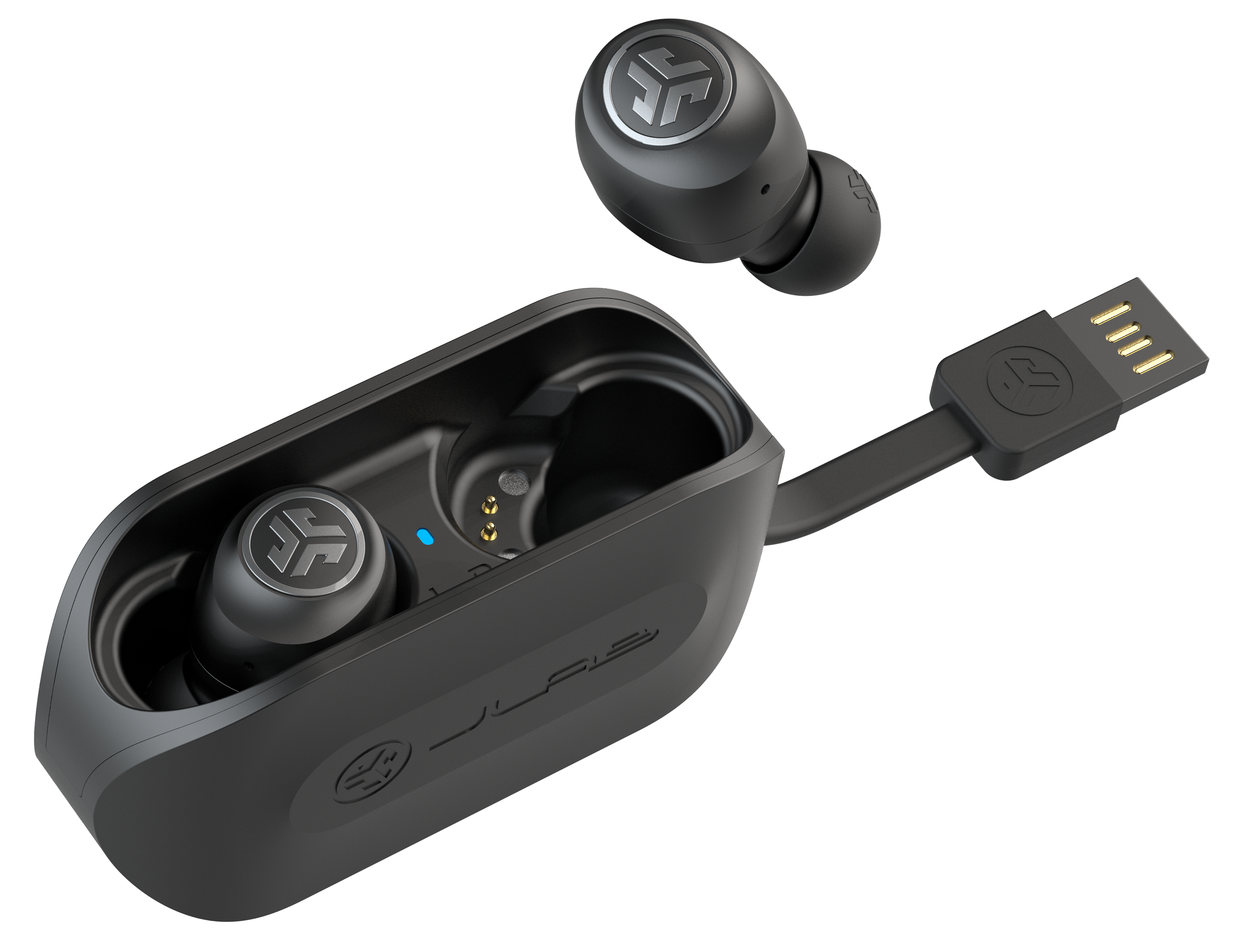 JBuds Air True Wireless Earbuds Auriculares en estuche de carga con cable USB integrado