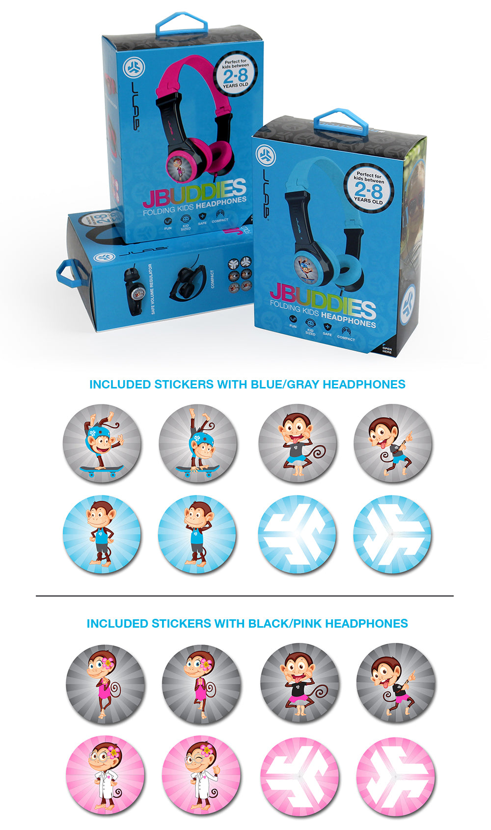 JBuddies Folding Kids Headphones Packaging and Included Stickers