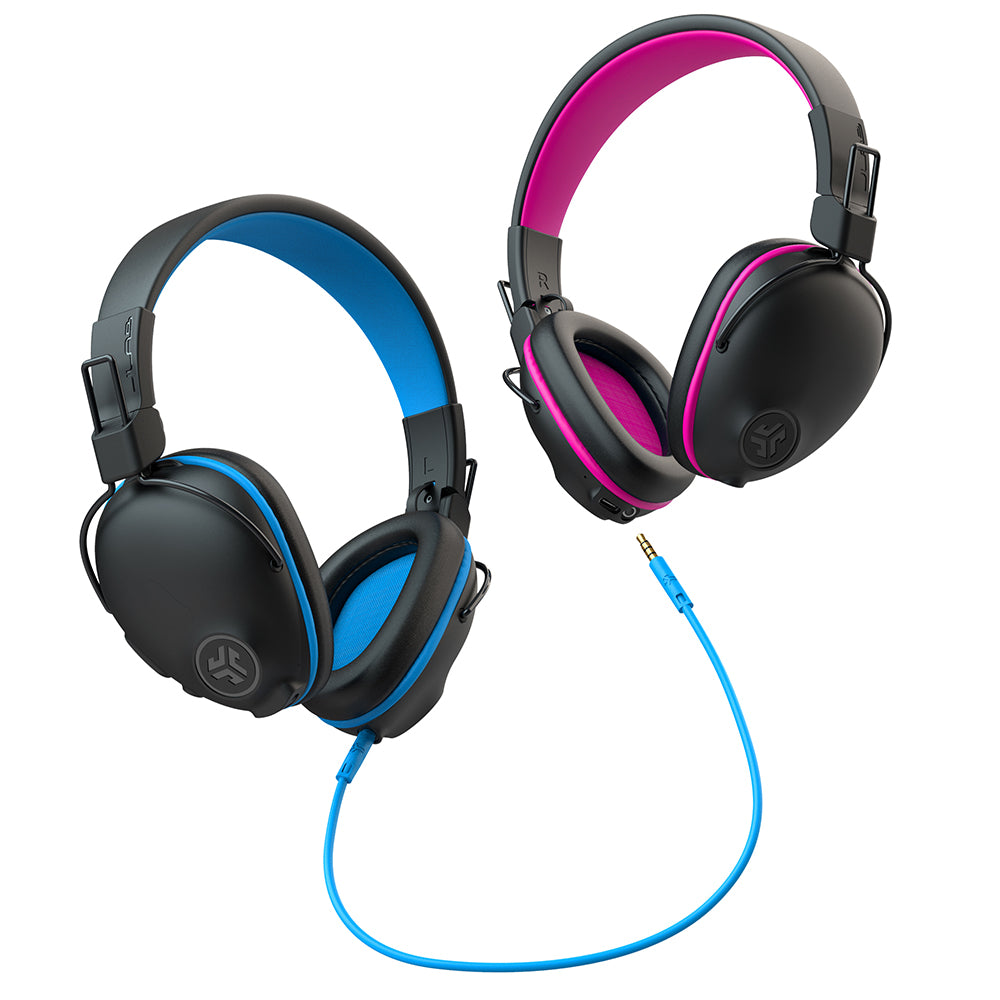 JBuddies Pro Wireless in Blue and Pink connected by AUX cord