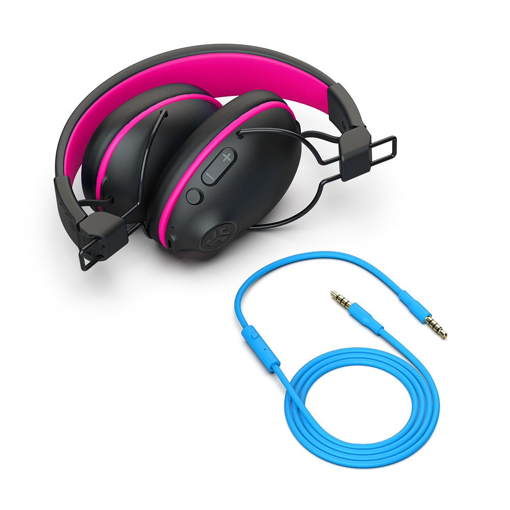 JBuddies Pro Wireless Over-Ear Headphones in Pink with AUX cord
