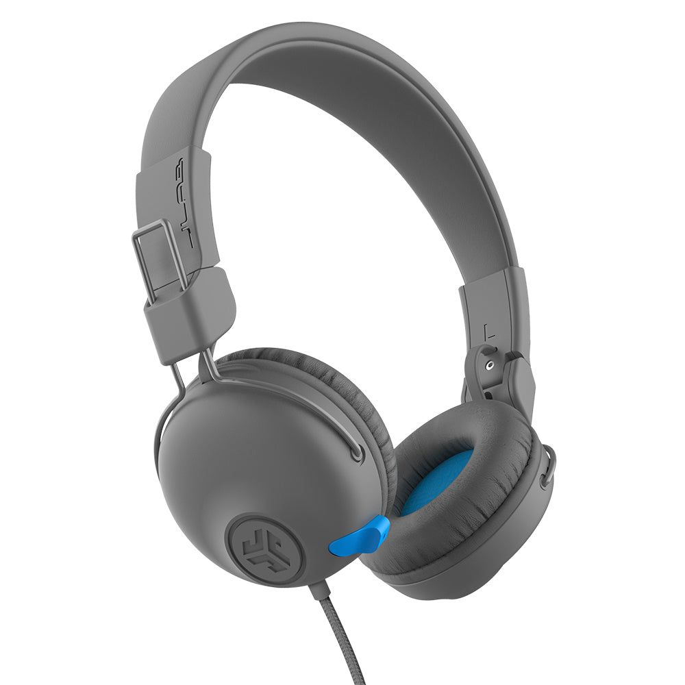Side view of JBuddies Learn On-Ear Kids Headphones showing wire and retracted boom microphone