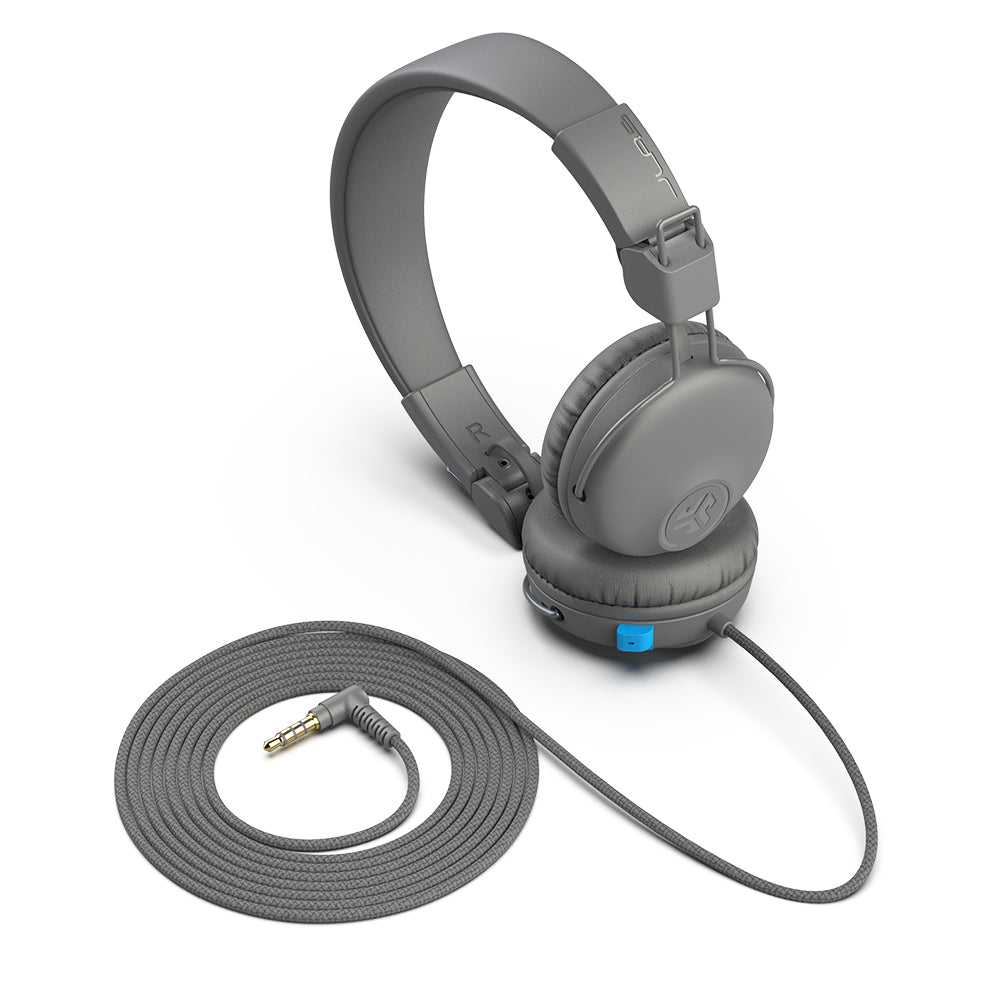 JBuddies Learn On-Ear Kids Headphones in Gray with nylon cord and 90 Degree 3.5mm Jack