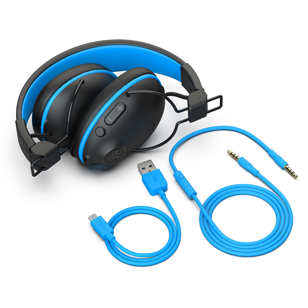 Folded JBuddies Pro Wireless Over-Ear Headphones in Blue with Charging and AUX Cables