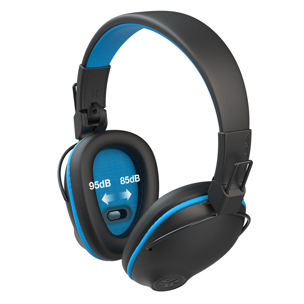 Infographic showing JBuddies Pro Wireless Over-Ear Headphones in Blue with hearing protection switch