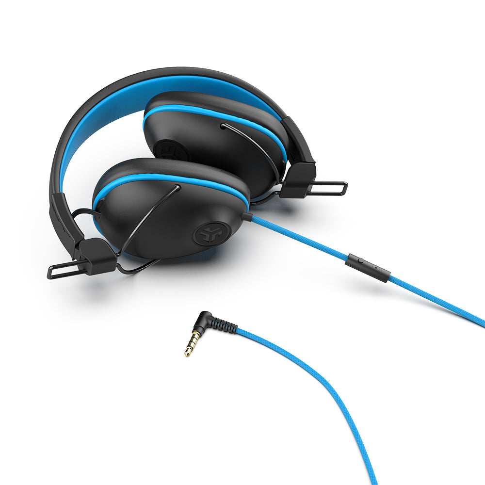 Folded JBuddies Pro Over-Ear Headphones in Blue shwo