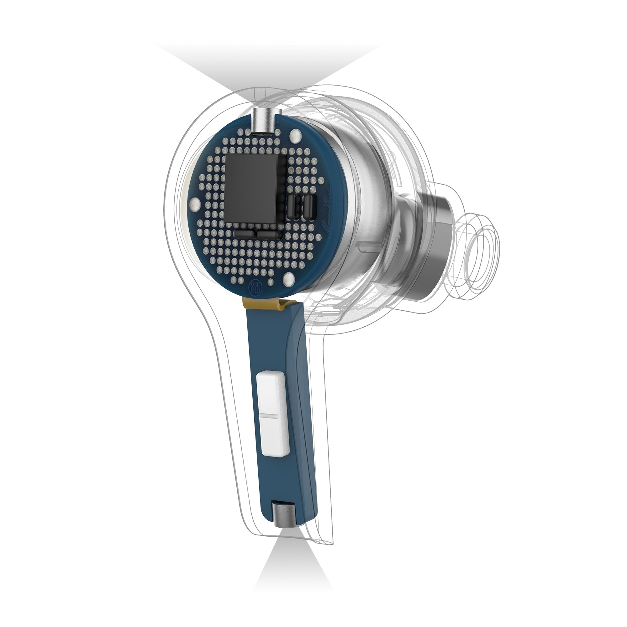 Grafica del posizionamento del microfono in JBuds Air Executive True Wireless Auricolari