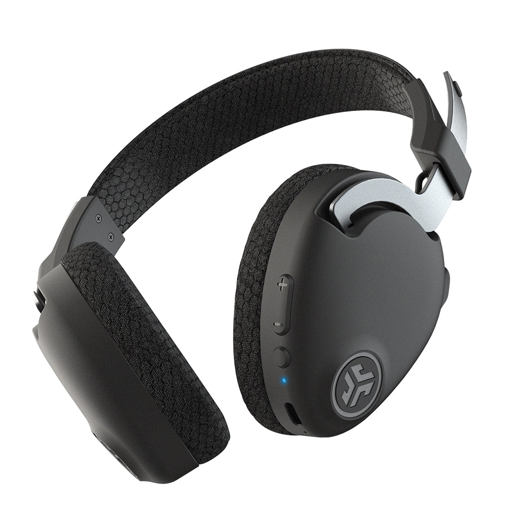 Bottom view of JBuds Work Wireless Over-Ear Headset showing volume and track control and power buttons on earcup